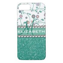 Aqua Turqoise Monogram Flower Glitter Pattern iPhone 7 Case