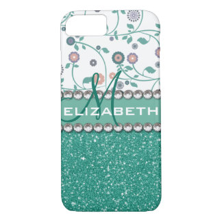 Aqua Turqoise Monogram Flower Glitter Pattern iPhone 7 Case