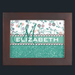 """Aqua Turqoise Monogram Flower Glitter Pattern Keepsake Box<br><div class=""""desc"""">A aqua / turquoise / teal glitter that sparkles on the bottom, and a pattern with twirl / swirl flower design background pattern on the top with green / aqua vines and pink / purple flowers. The center is left for personalization / personalize surrounded with white diamond rhinestones. (PHOTO PRINT)...</div>"""