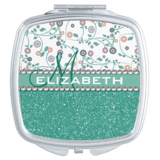 Aqua Turqoise Monogram Flower Glitter Pattern Makeup Mirror