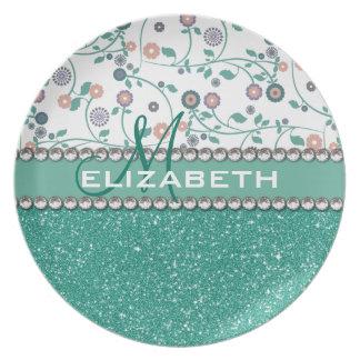 Aqua Turqoise Monogram Flower Glitter Pattern Melamine Plate