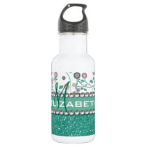 Aqua Turqoise Monogram Flower Glitter Pattern Stainless Steel Water Bottle