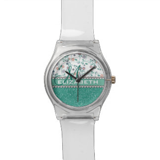 Aqua Turqoise Monogram Flower Glitter Pattern Wristwatch