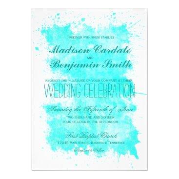 Beach Themed Aqua Turqouise Summer Beach Wedding Invitations