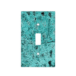 Aqua Turquoise Abstract Light Switch Cover