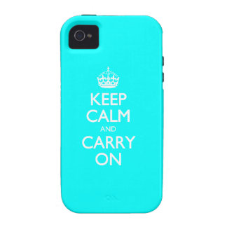Aqua Turquoise And White Keep Calm And Carry On Vibe iPhone 4 Cases