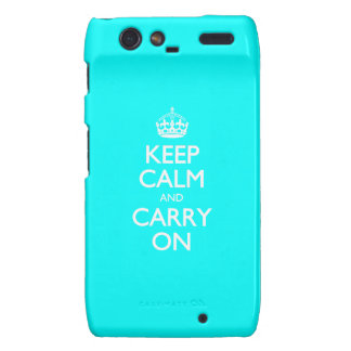 Aqua Turquoise And White Keep Calm And Carry On Droid RAZR Cover