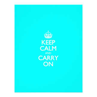 Aqua Turquoise And White Keep Calm And Carry On Letterhead