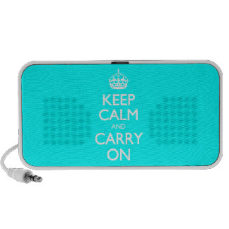 Aqua Turquoise And White Keep Calm And Carry On Mp3 Speaker