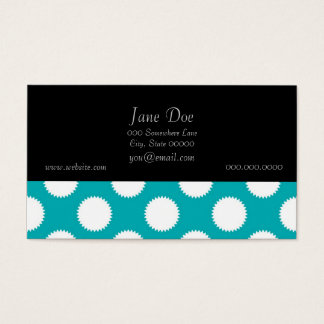 Aqua Turquoise and White Polka Dot Pattern Business Card