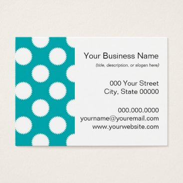 Beach Themed Aqua Turquoise and White Polka Dot Pattern Business Card