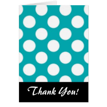 Beach Themed Aqua Turquoise and White Polka Dot Pattern Card
