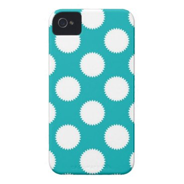Beach Themed Aqua Turquoise and White Polka Dot Pattern Case-Mate iPhone 4 Case