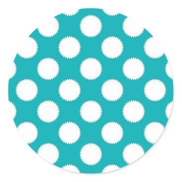 Beach Themed Aqua Turquoise and White Polka Dot Pattern Classic Round Sticker