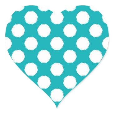 Beach Themed Aqua Turquoise and White Polka Dot Pattern Heart Sticker
