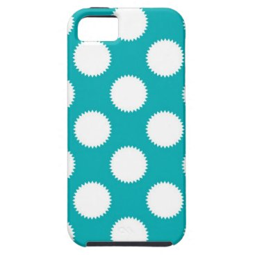 Beach Themed Aqua Turquoise and White Polka Dot Pattern iPhone SE/5/5s Case