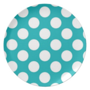 Beach Themed Aqua Turquoise and White Polka Dot Pattern Melamine Plate