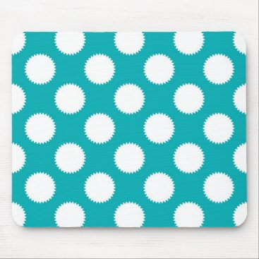 Beach Themed Aqua Turquoise and White Polka Dot Pattern Mouse Pad