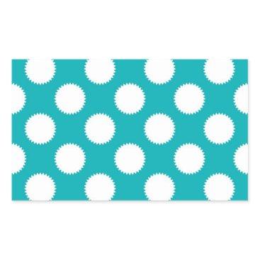 Beach Themed Aqua Turquoise and White Polka Dot Pattern Rectangular Sticker