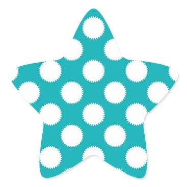 Beach Themed Aqua Turquoise and White Polka Dot Pattern Star Sticker