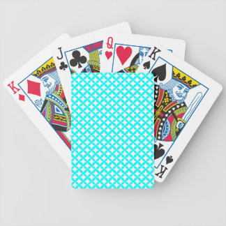 Aqua Turquoise And White Seamless Mesh Pattern Bicycle Poker Deck