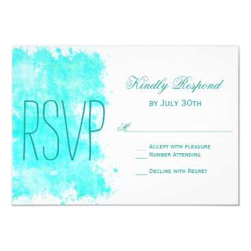 Beach Themed Aqua Turquoise Aqua Beach Wedding RSVP Cards