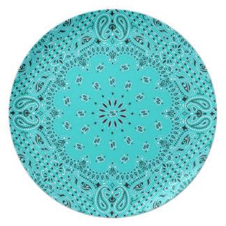 Aqua Turquoise BBQ Paisley Western Bandana Scarf Dinner Plate