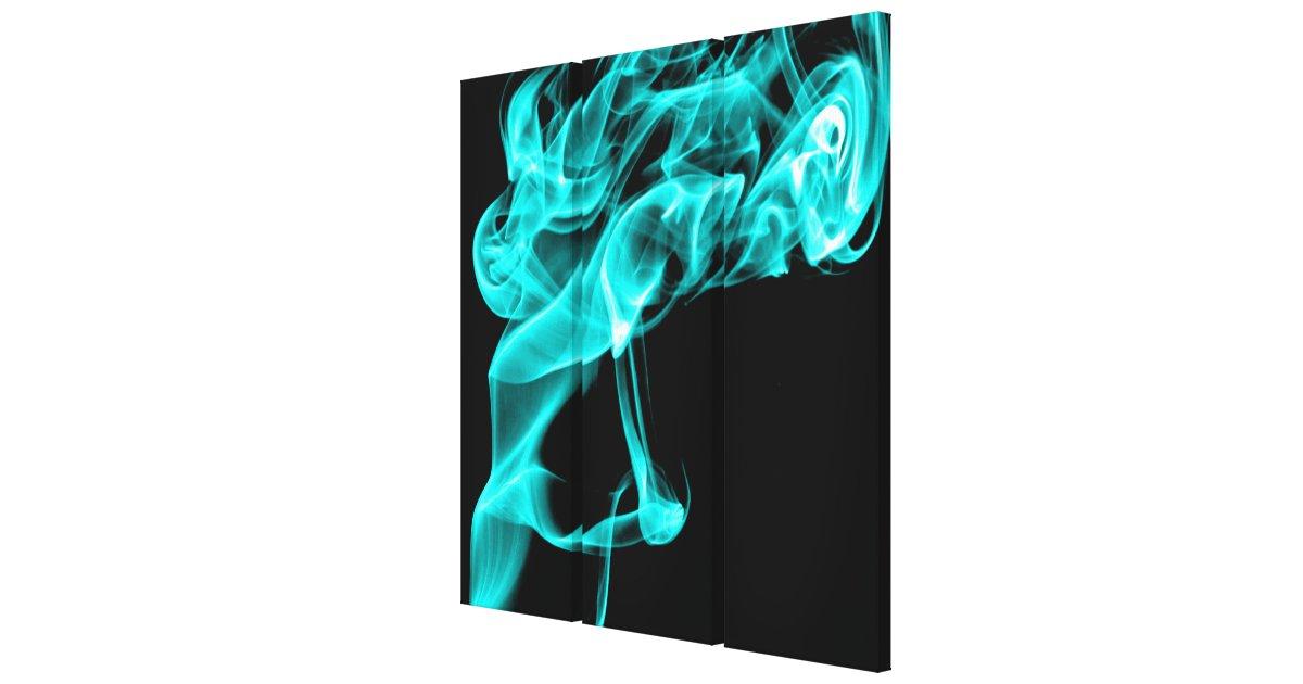 Aqua Turquoise Black Modern Fractal Art Wall Decor Canvas