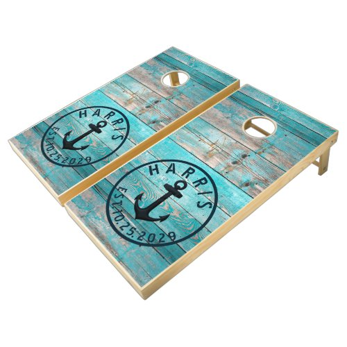 Aqua Turquoise Blue Distressed Wood Anchor Cornhole Set