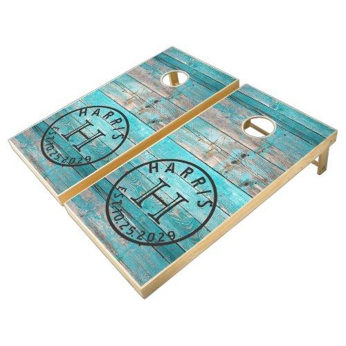 Aqua Turquoise Blue Distressed Wood Monogram Cornhole Set
