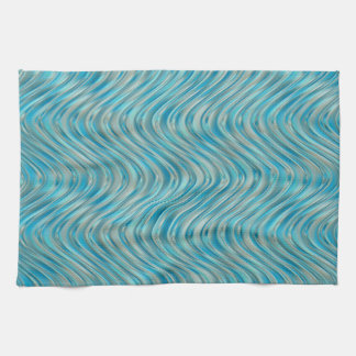 Aqua Turquoise Blue Green Faux Glass Waves Pattern Kitchen Towel