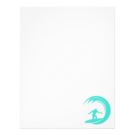 Aqua Turquoise; Blue Green Surfing Custom Letterhead