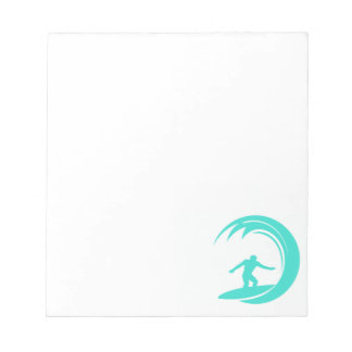 Aqua Turquoise; Blue Green Surfing Notepad