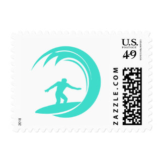 Aqua Turquoise; Blue Green Surfing Postage Stamp