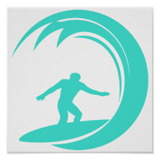 Aqua Turquoise; Blue Green Surfing Poster