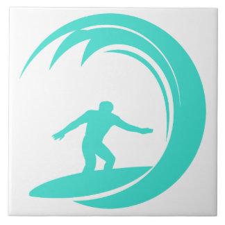 Aqua Turquoise; Blue Green Surfing Ceramic Tile