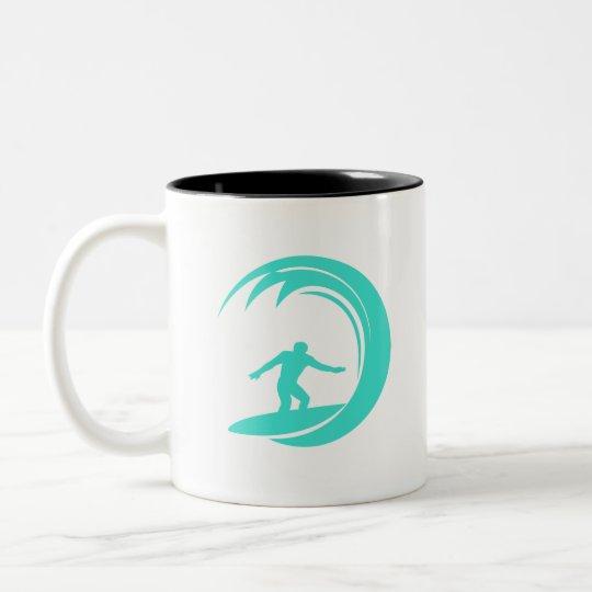 Aqua Turquoise; Blue Green Surfing Two-Tone Coffee Mug