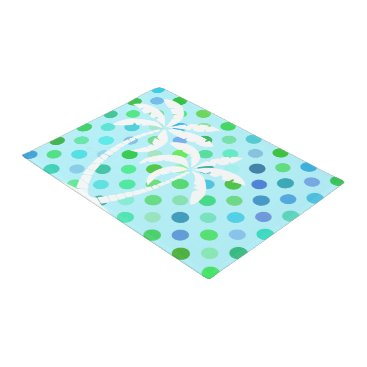 Beach Themed Aqua Turquoise Blue Lime Green Polkadots Pattern Doormat