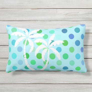 Beach Themed Aqua Turquoise Blue Lime Green Polkadots Pattern Lumbar Pillow
