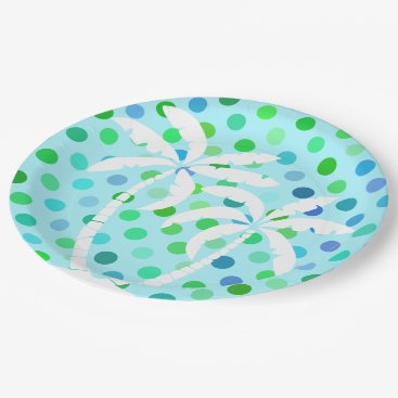 Beach Themed Aqua Turquoise Blue Lime Green Polkadots Pattern Paper Plate