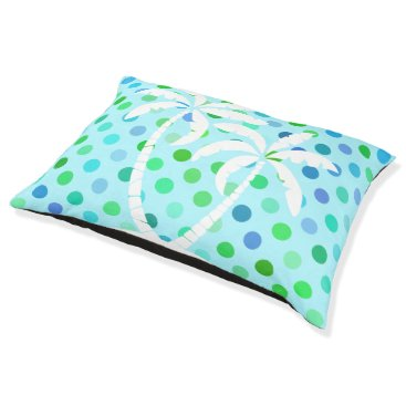 Beach Themed Aqua Turquoise Blue Lime Green Polkadots Pattern Pet Bed