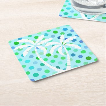 Beach Themed Aqua Turquoise Blue Lime Green Polkadots Pattern Square Paper Coaster
