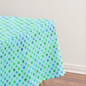 Beach Themed Aqua Turquoise Blue Lime Green Polkadots Pattern Tablecloth