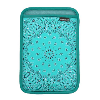 Aqua Turquoise Blue Paisley Scarf Fabric Sleeve For iPad Mini