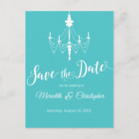 Aqua Turquoise Chandelier Wedding Save the Date Announcement Postcard