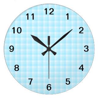 Aqua Turquoise Check Pattern. Large Clock