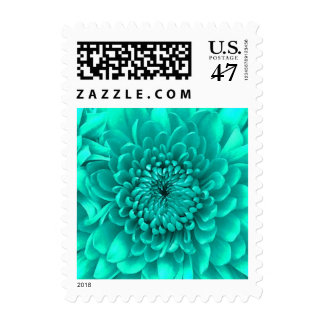 Aqua Turquoise Chrysanthemum Floral Postage Stamps