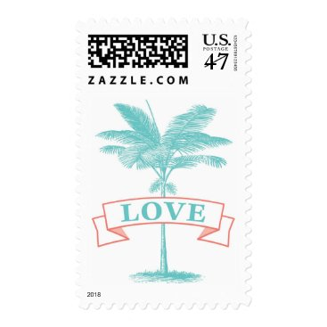 Beach Themed Aqua Turquoise Coral Palm Tree LOVE Postage Stamp