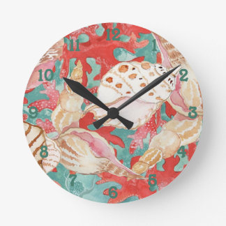 Aqua Turquoise Coral Red Shells Pattern Round Wall Clocks