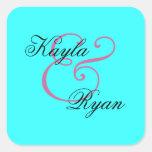 Aqua Turquoise Envelope Seal Wedding Square Sticker